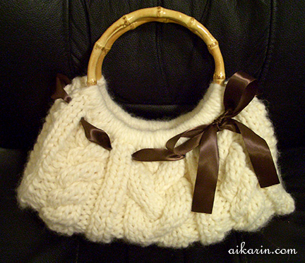 Knitted Purse Pattern : Aikarins Knitting - Cable Knit Purse