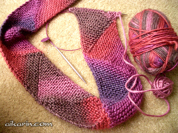Short Row Knitting Patterns : Aikarins Knitting - Short Row Scarf with Patons SWS Soy Wool Stripes