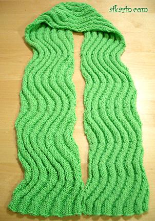 Knitting Pattern Wavy Scarf : Neon Green Wavy Scarf