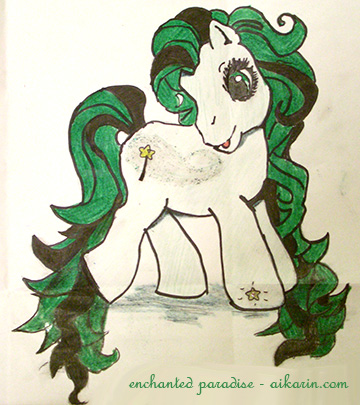 Description: light green pony with green and black hair, The black strips